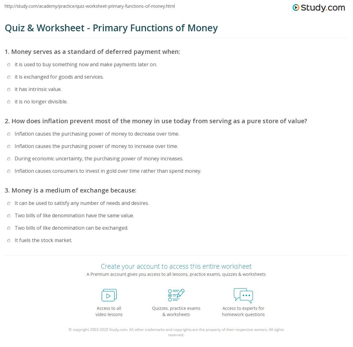 Quiz Worksheet Primary Functions of Money – Basic Money Worksheets