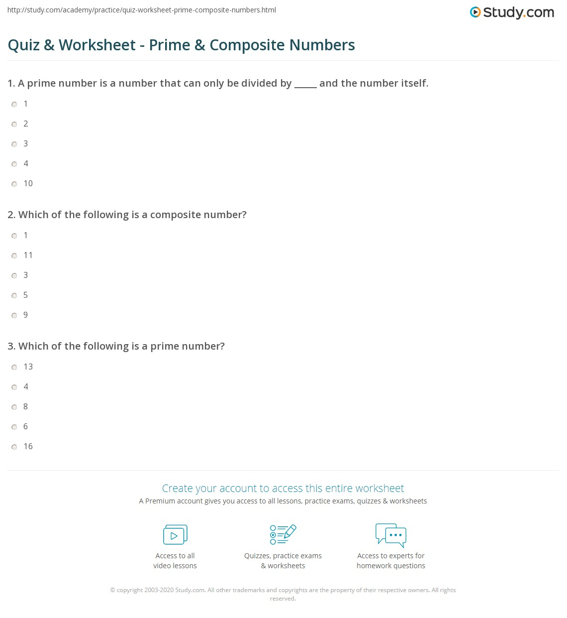 Quiz Worksheet Prime Composite Numbers Study