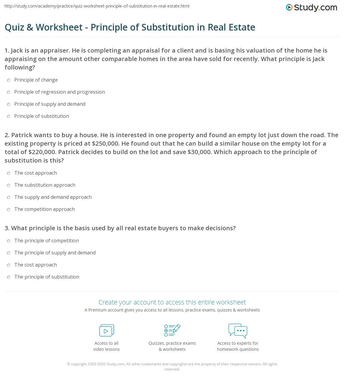 Quiz & Worksheet - Principle of Substitution in Real Estate | Study.com