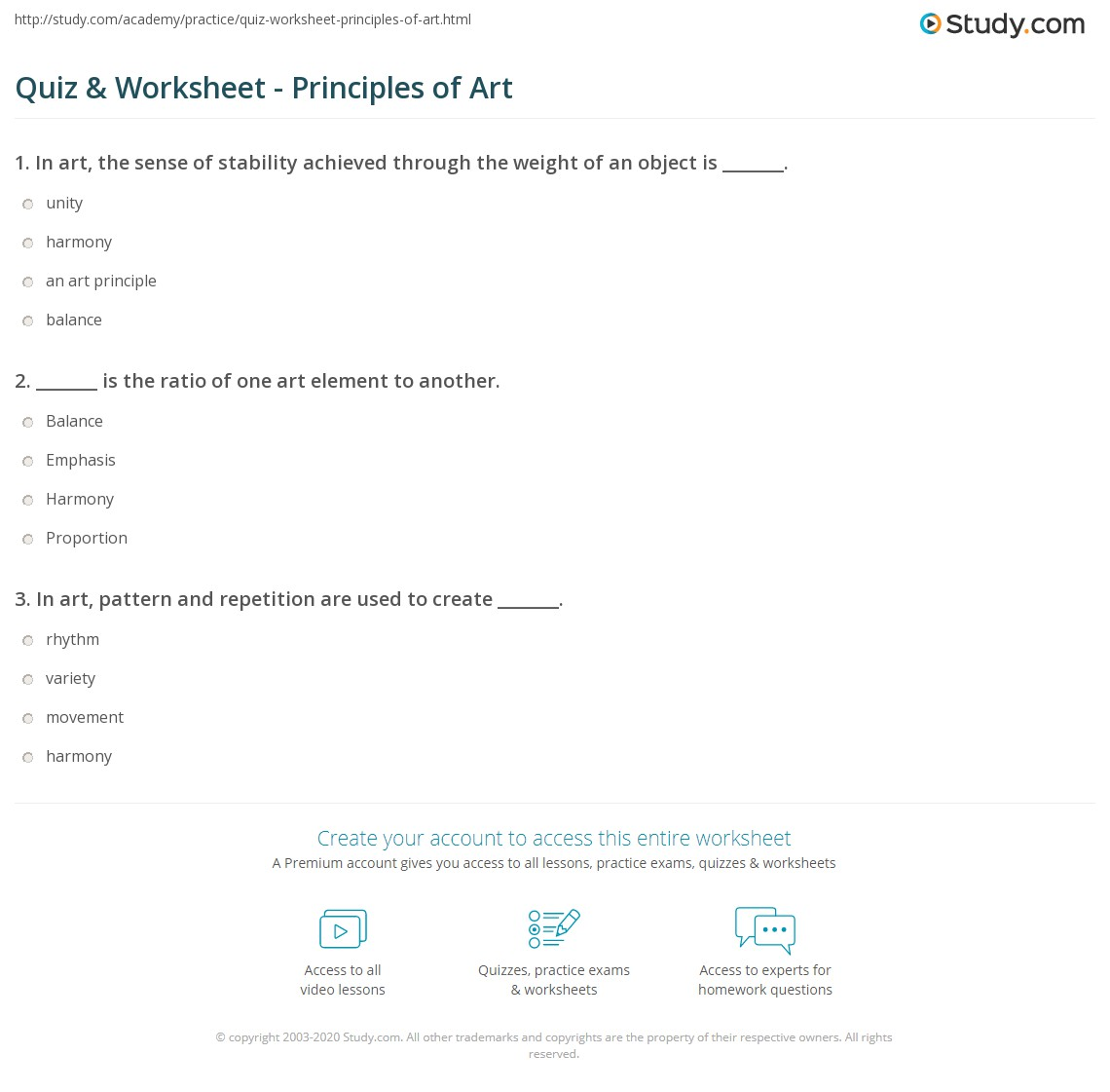 worksheet Art Worksheet quiz worksheet principles of art study com print what are the definition examples worksheet