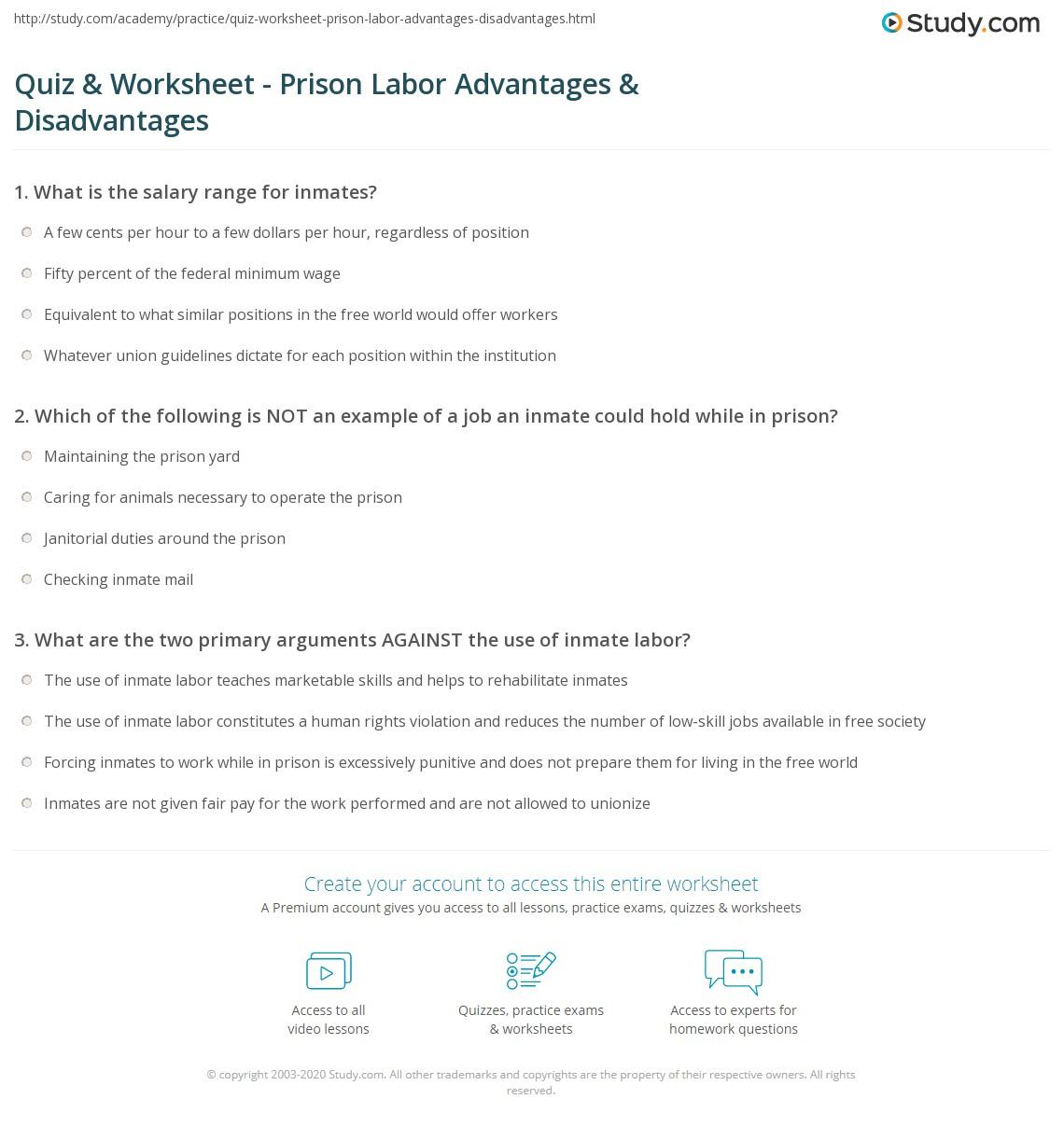 quiz worksheet prison labor advantages disadvantages. Black Bedroom Furniture Sets. Home Design Ideas