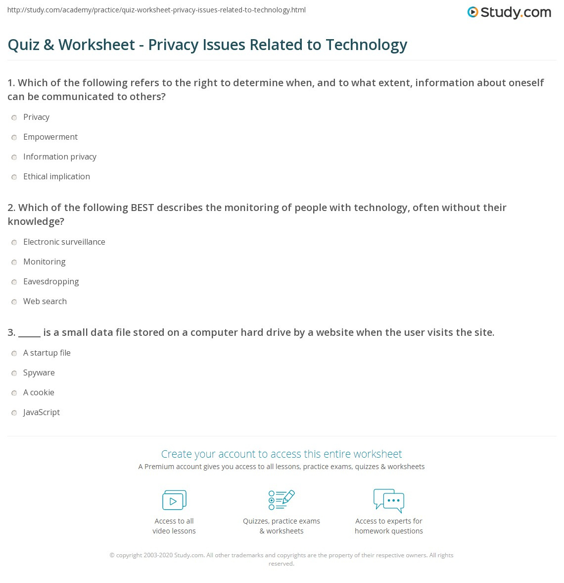 quiz worksheet privacy issues related to technology com print impact of technology on privacy worksheet