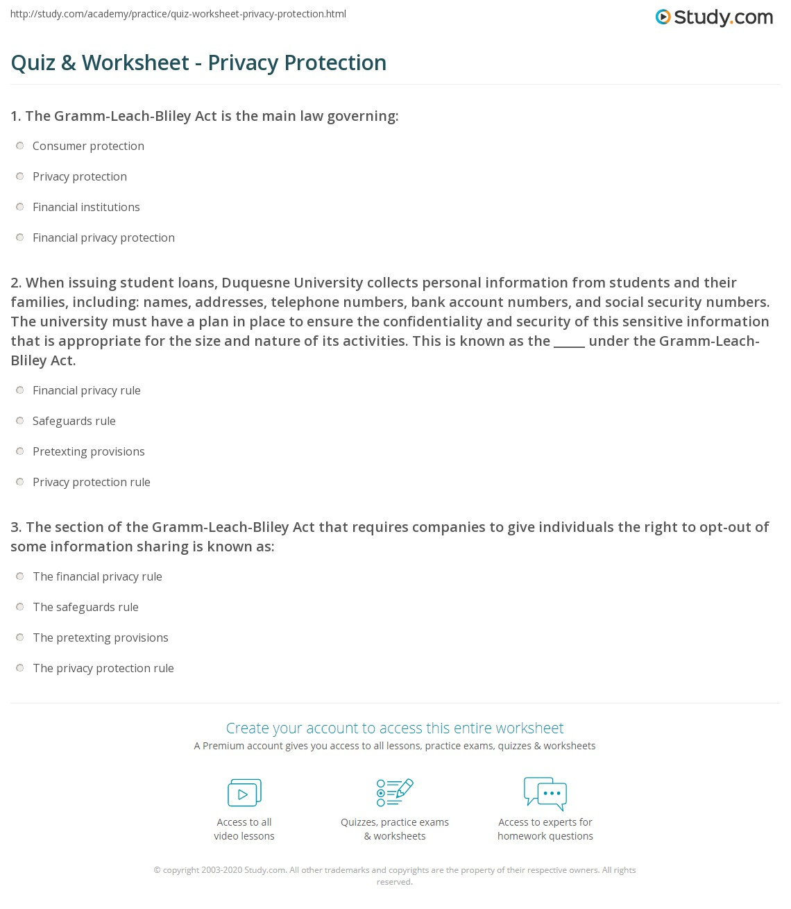 Quiz Worksheet Privacy Protection Study