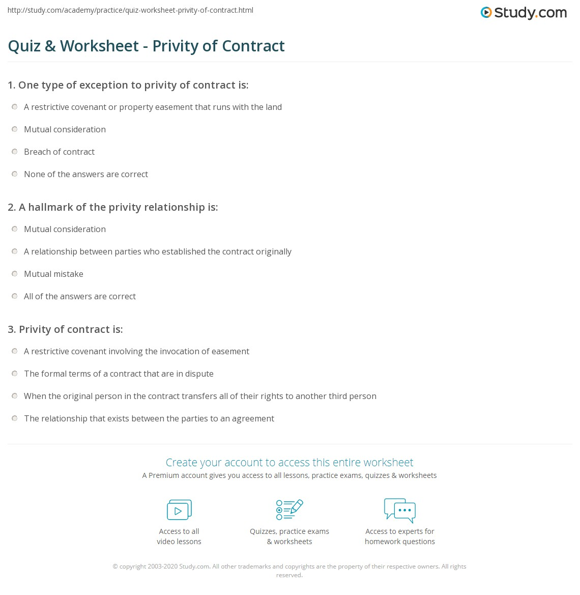 quiz & worksheet - privity of contract   study