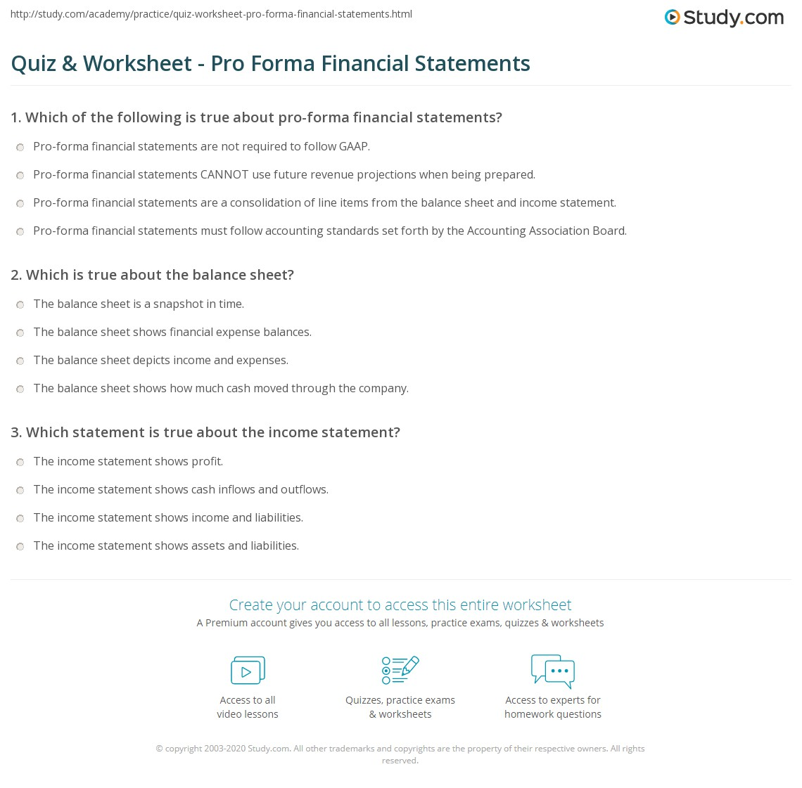 quiz worksheet pro forma financial statements study com