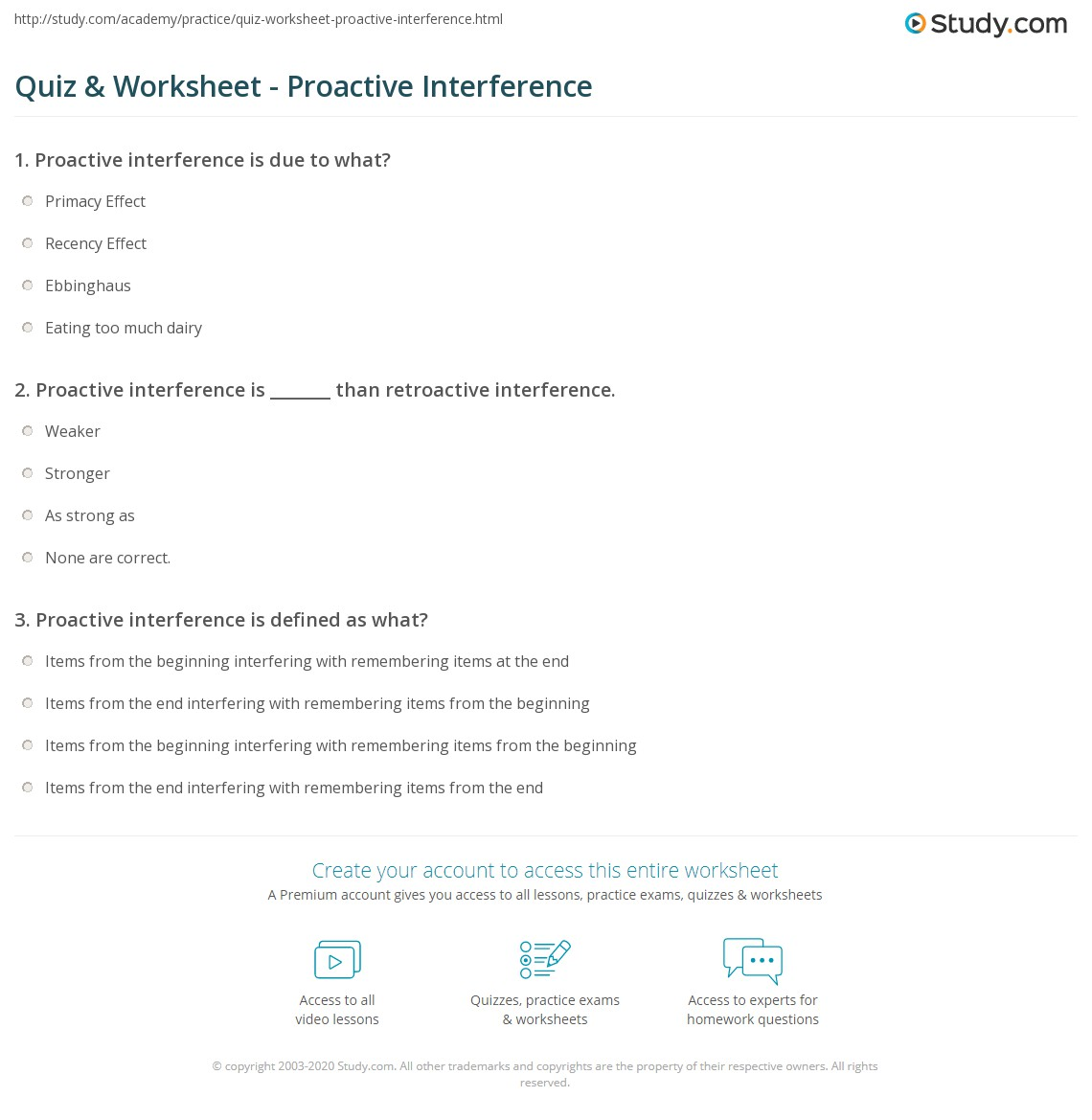 Quiz Worksheet Proactive Interference Study