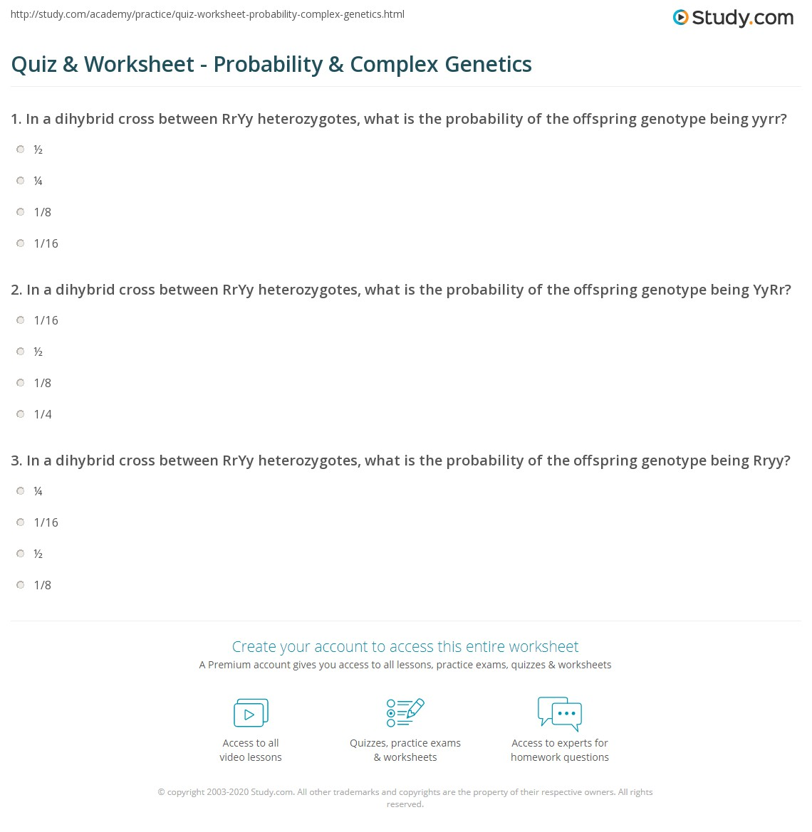 Biology Probability Worksheet Answers - ora-exacta.co