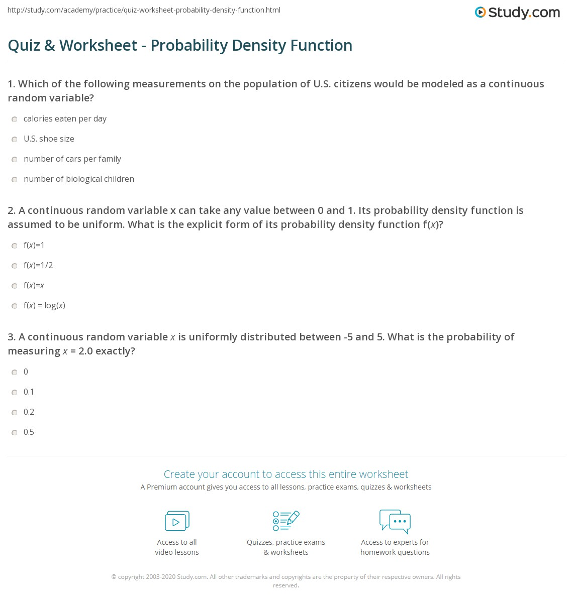 continuous probability density function pdf