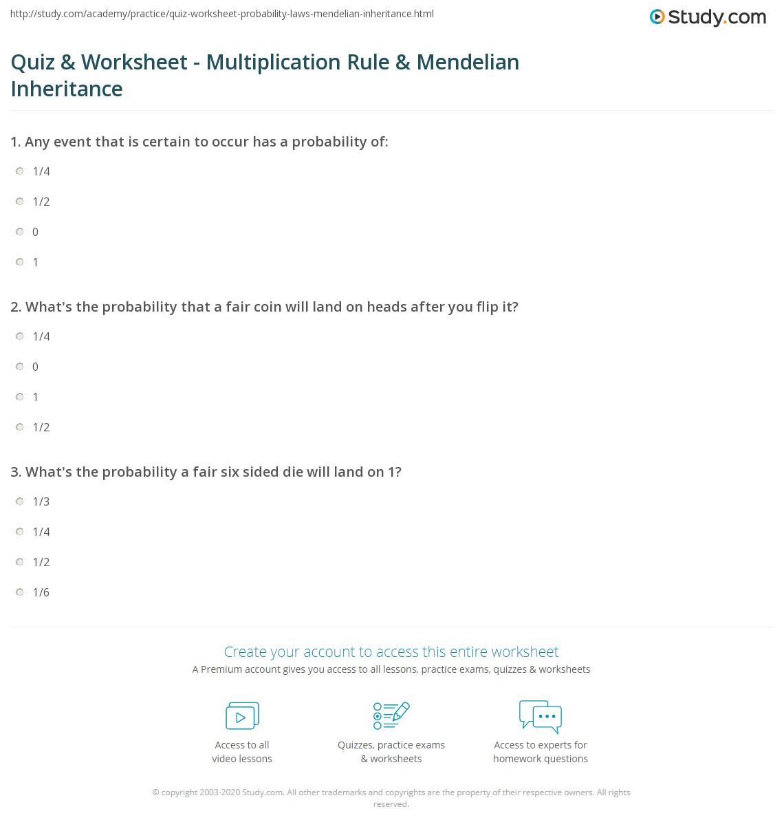 Quiz Worksheet Multiplication Rule Mendelian Inheritance – Mendelian Genetics Worksheet Answers