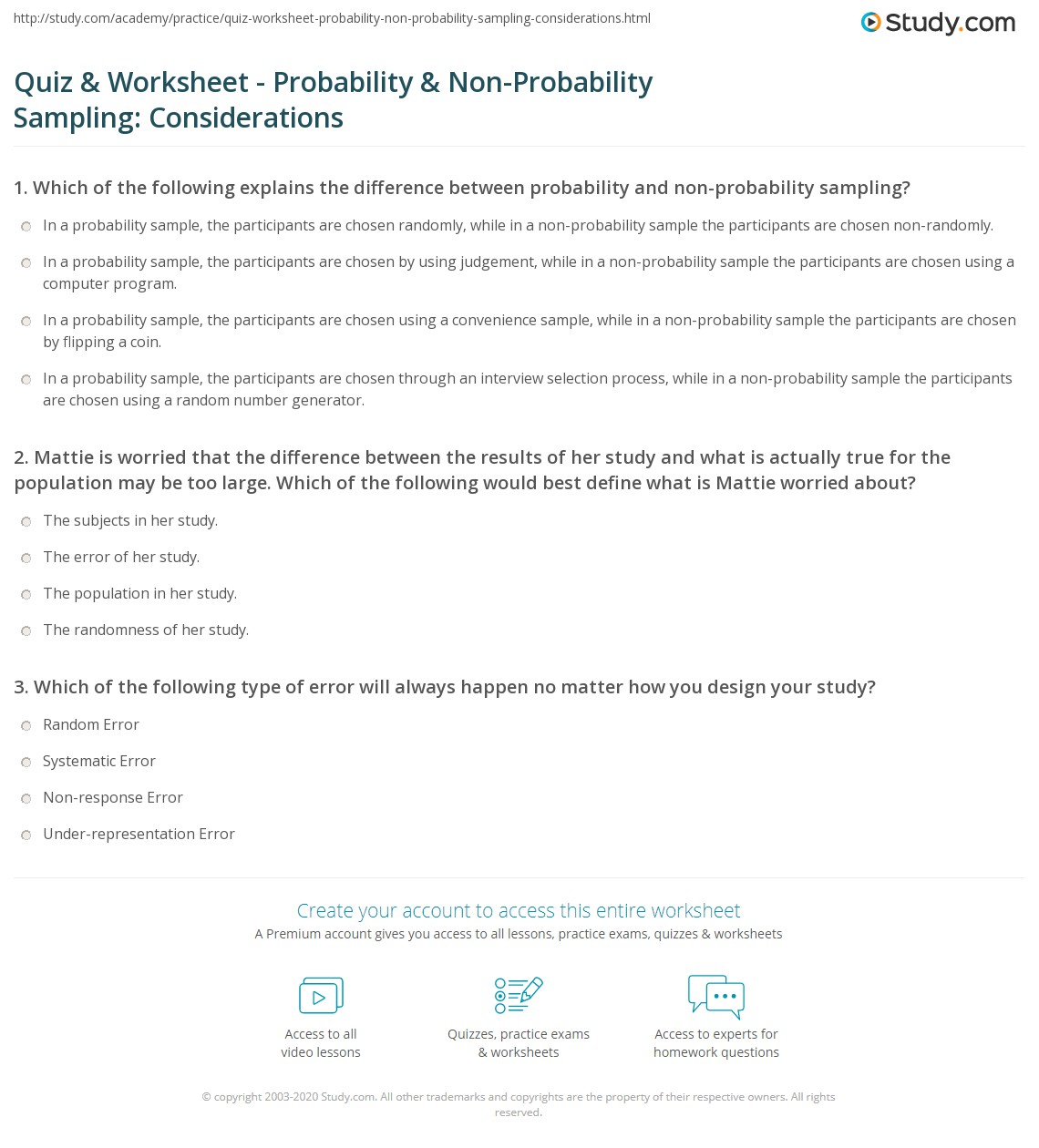 Quiz & Worksheet - Probability & Non-Probability Sampling ...