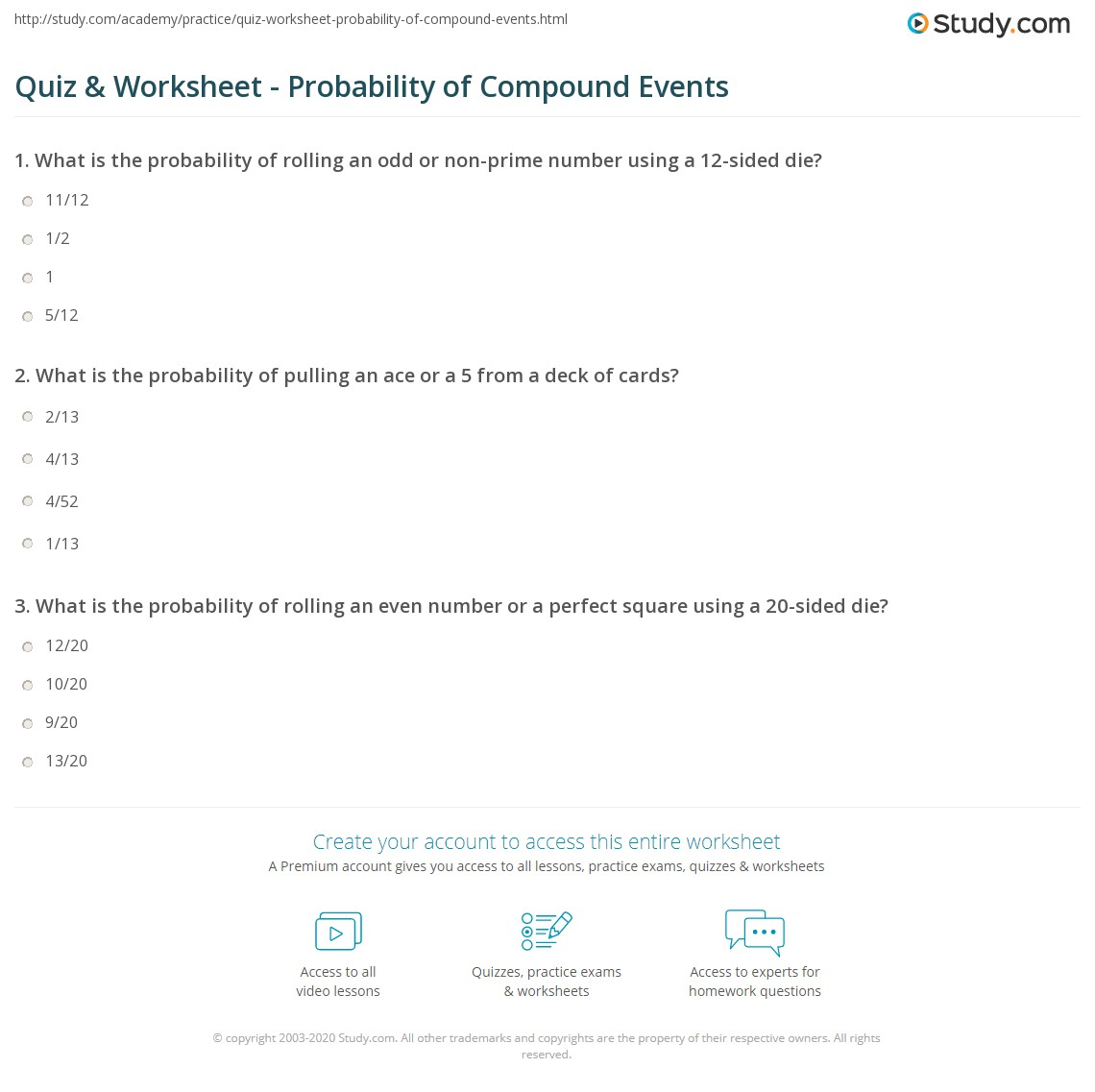 Quiz Worksheet Probability Of Compound Events Study Com