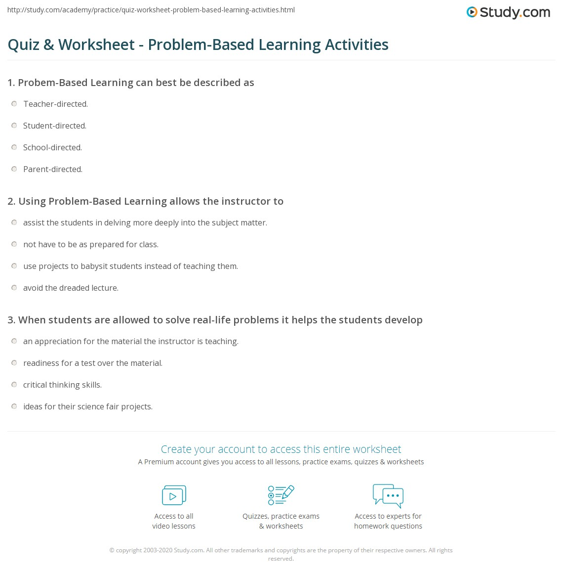 Quiz Worksheet Problem Based Learning Activities Study