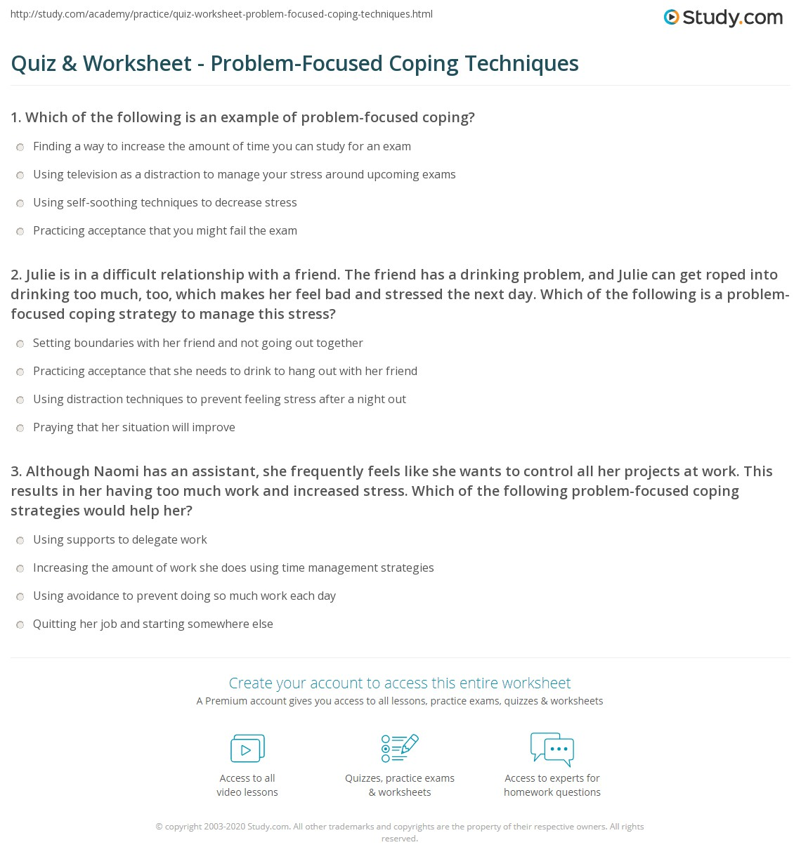 Quiz Worksheet Problem Focused Coping Techniques Study