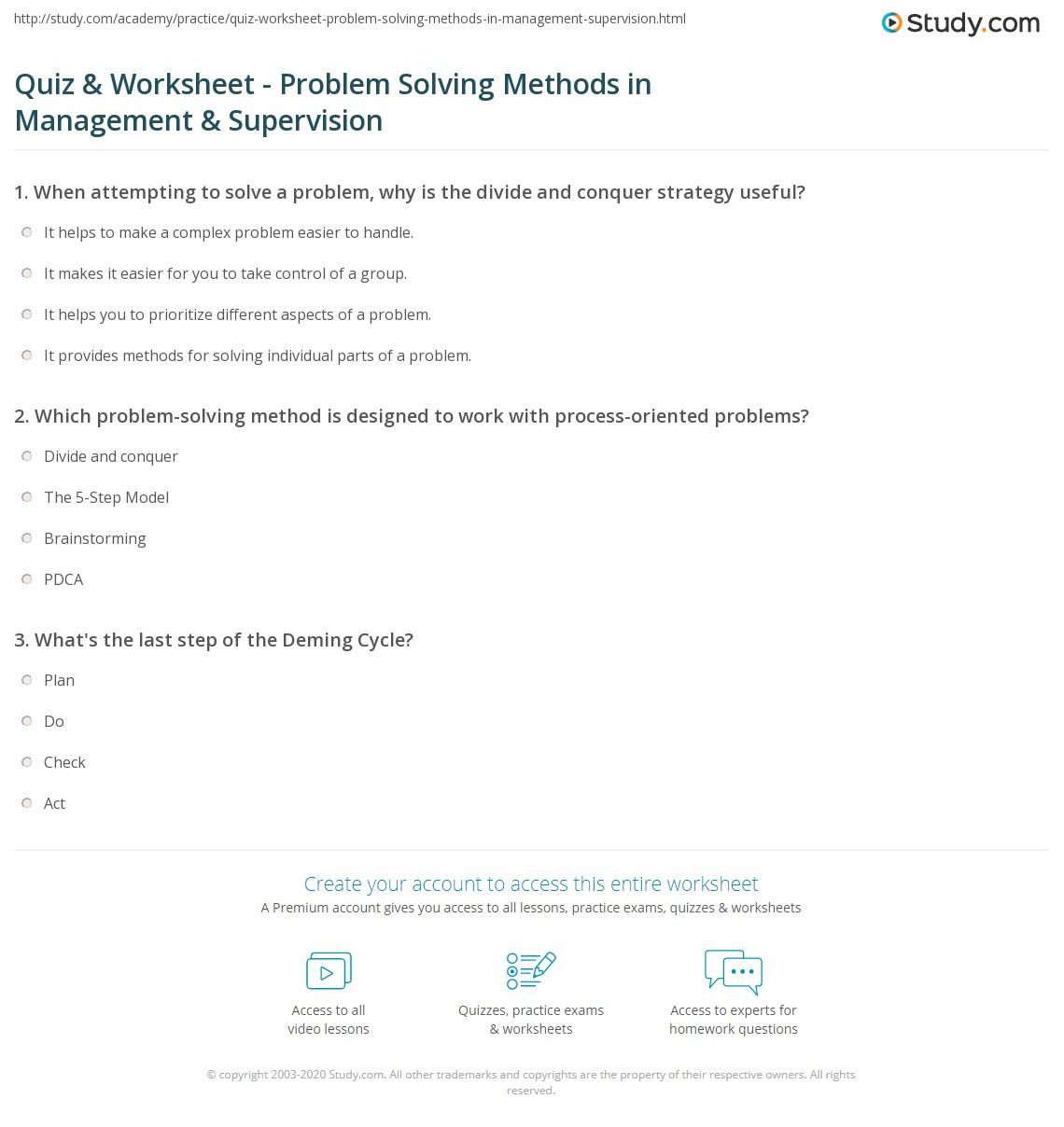 problem solving quizzes
