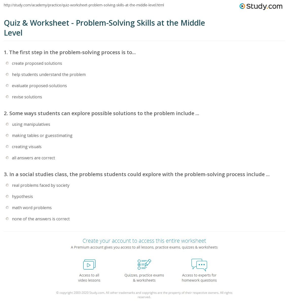 Worksheets Problem Solving Skills Worksheets quiz worksheet problem solving skills at the middle level print cultivating in school students worksheet