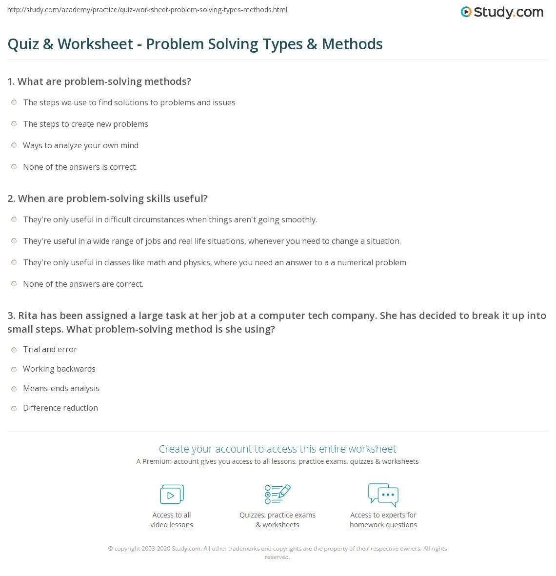 Worksheets Problem Solving Skills Worksheets quiz worksheet problem solving types methods study com print definition worksheet