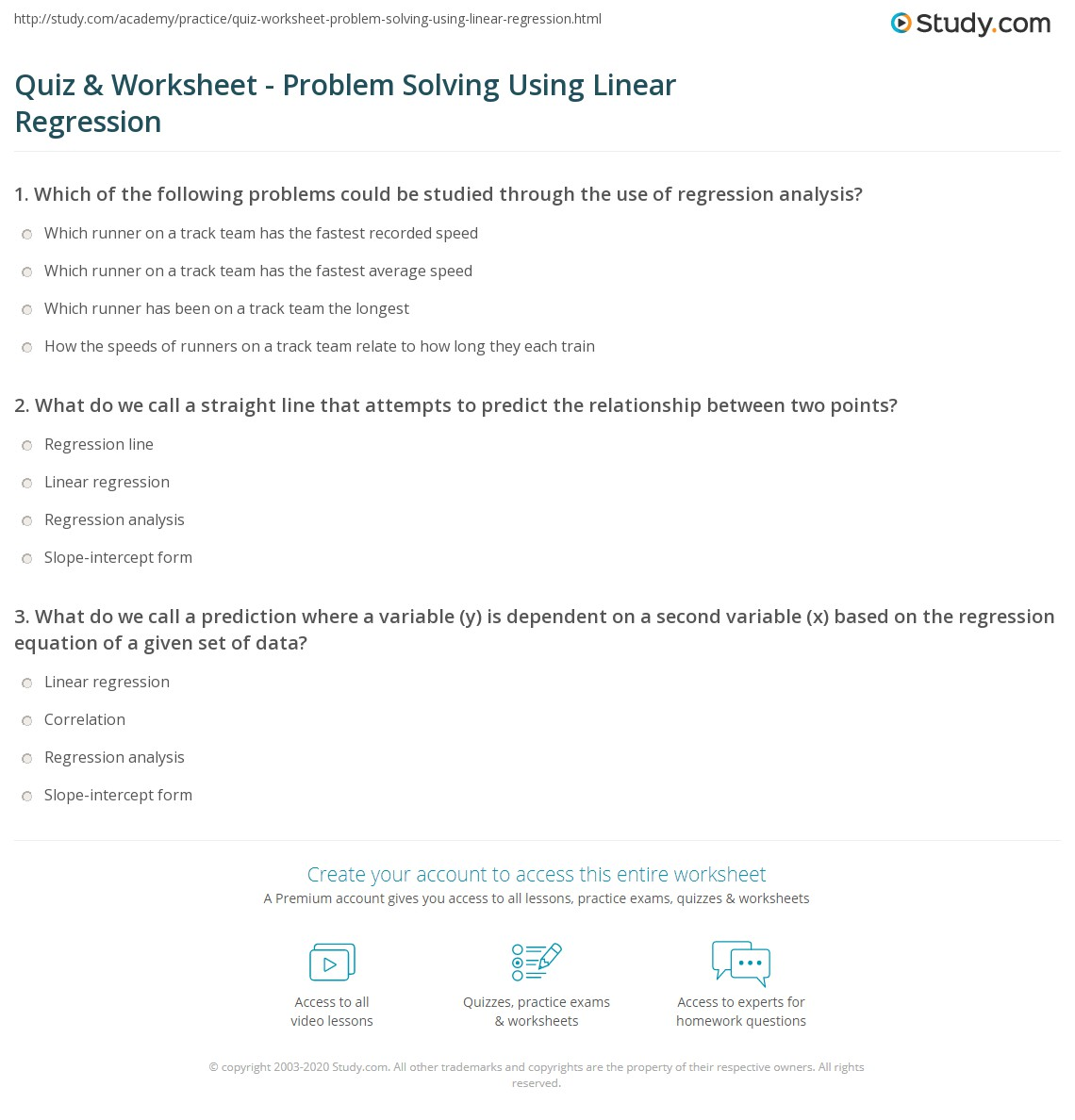 quiz worksheet problem solving using linear regression. Black Bedroom Furniture Sets. Home Design Ideas