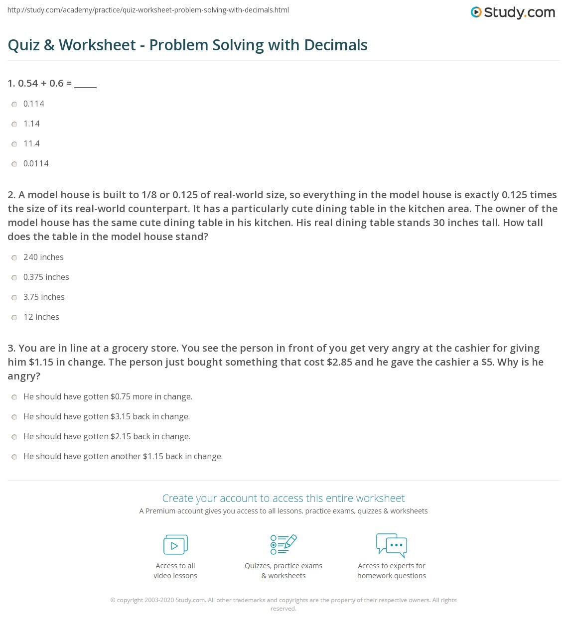 problem solving decimals