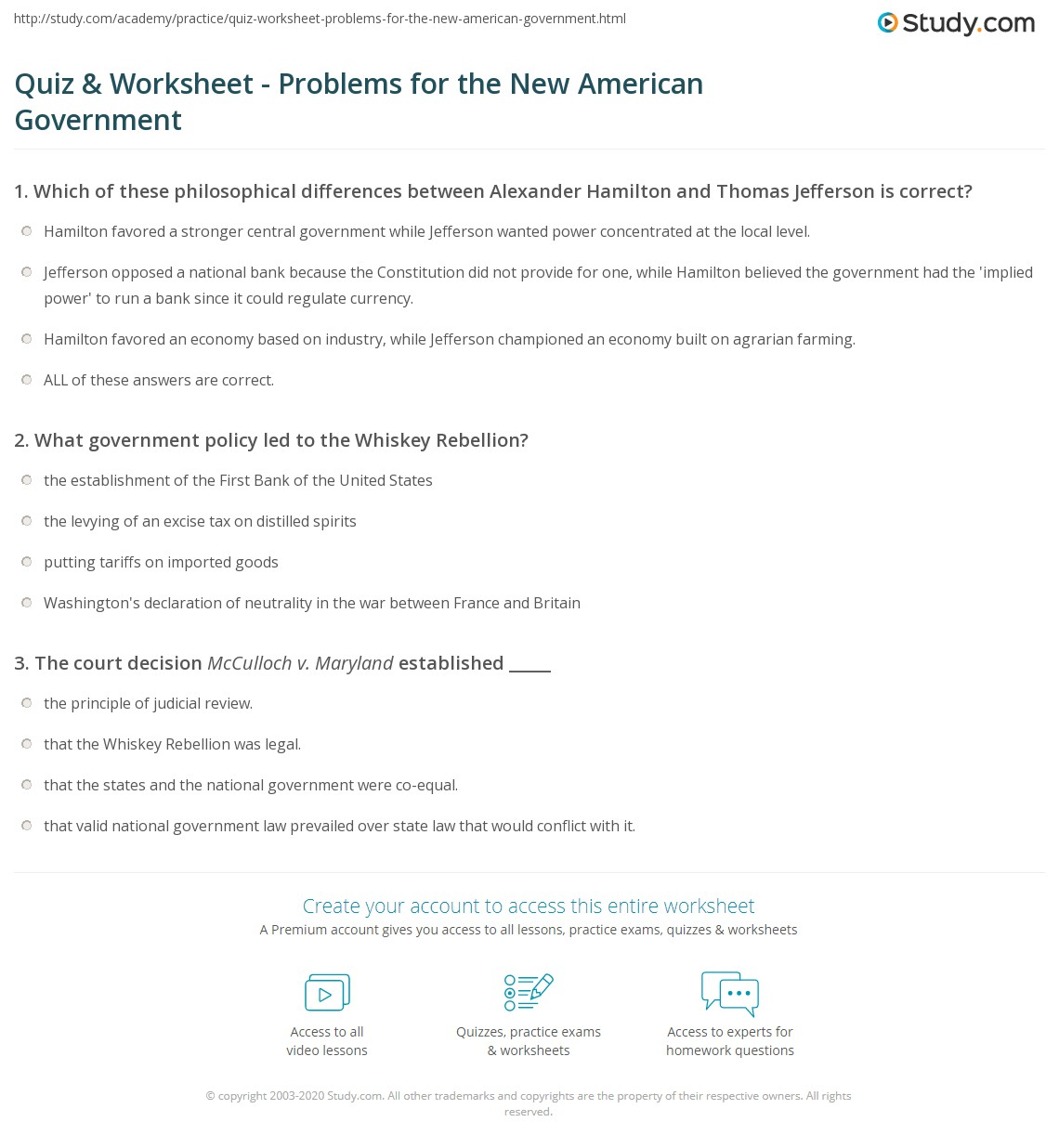 quiz worksheet problems for the new american government. Black Bedroom Furniture Sets. Home Design Ideas