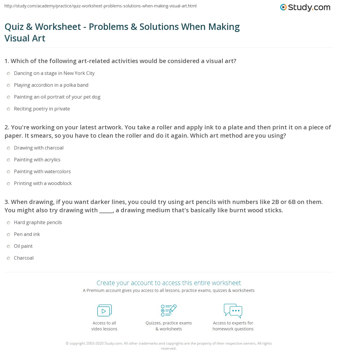 Quiz Worksheet Problems Solutions When Making Visual