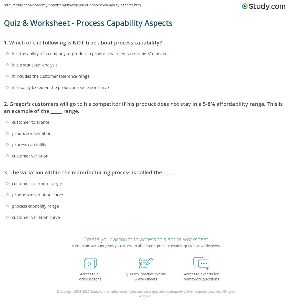 Quiz & Worksheet - Process Capability Aspects | Study.com