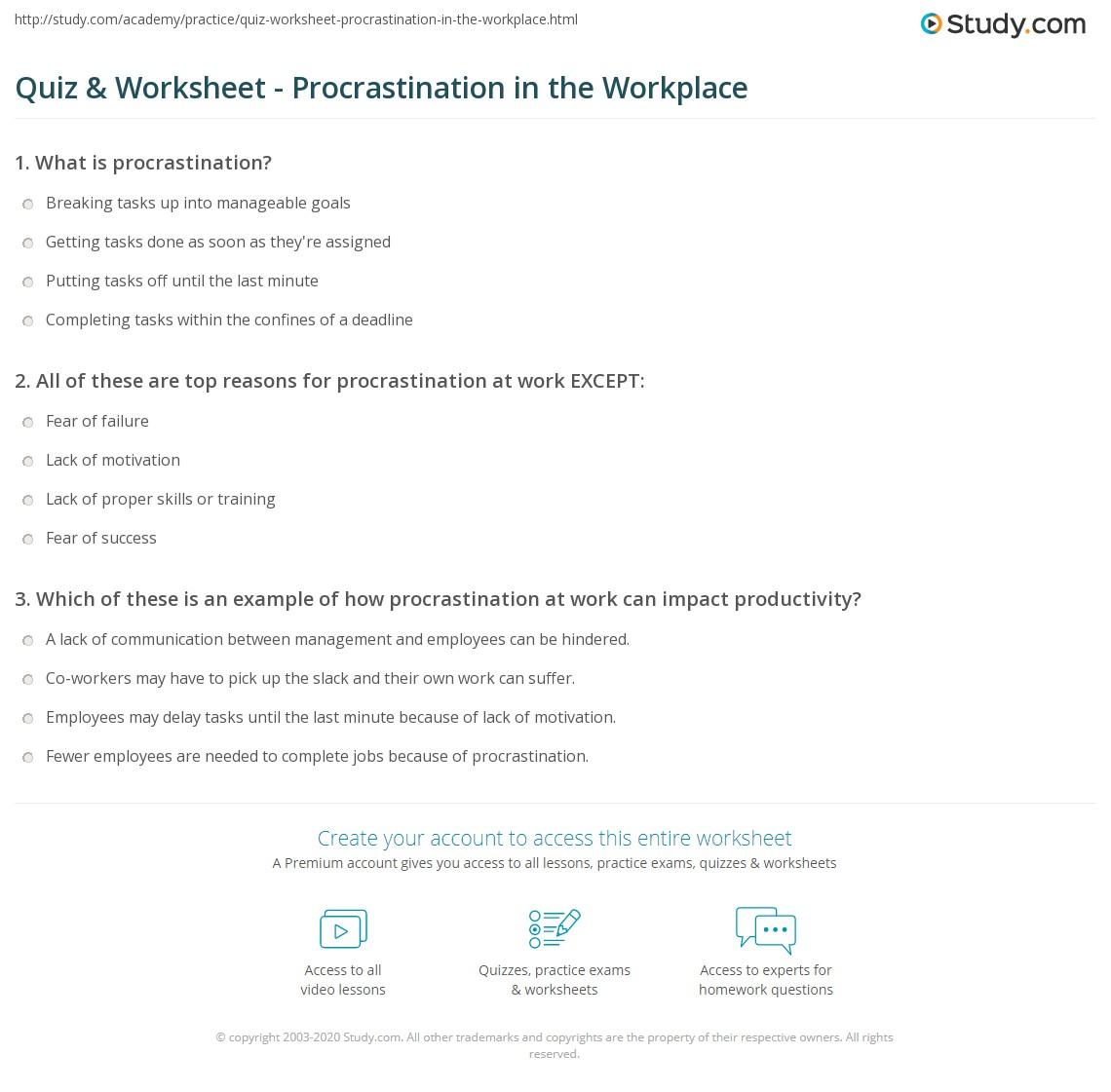 Cbt Procrastination Worksheet - The Best and Most Comprehensive ...