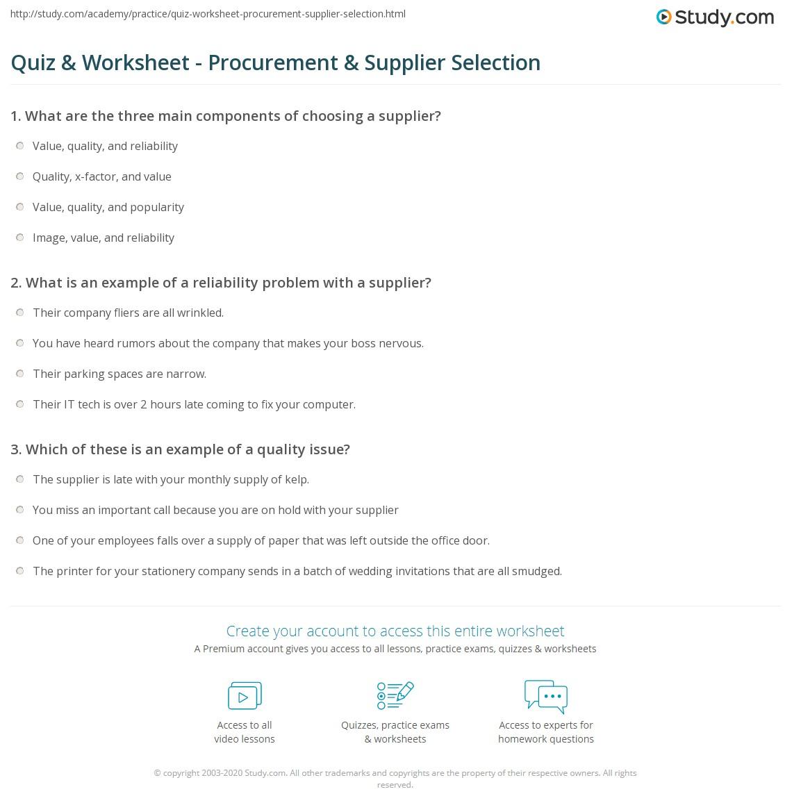 Quiz & Worksheet - Procurement & Supplier Selection | Study com