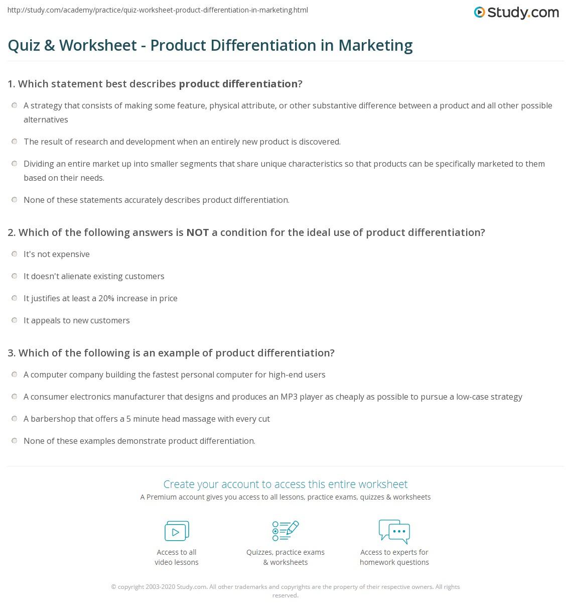 quiz worksheet product differentiation in marketing. Black Bedroom Furniture Sets. Home Design Ideas