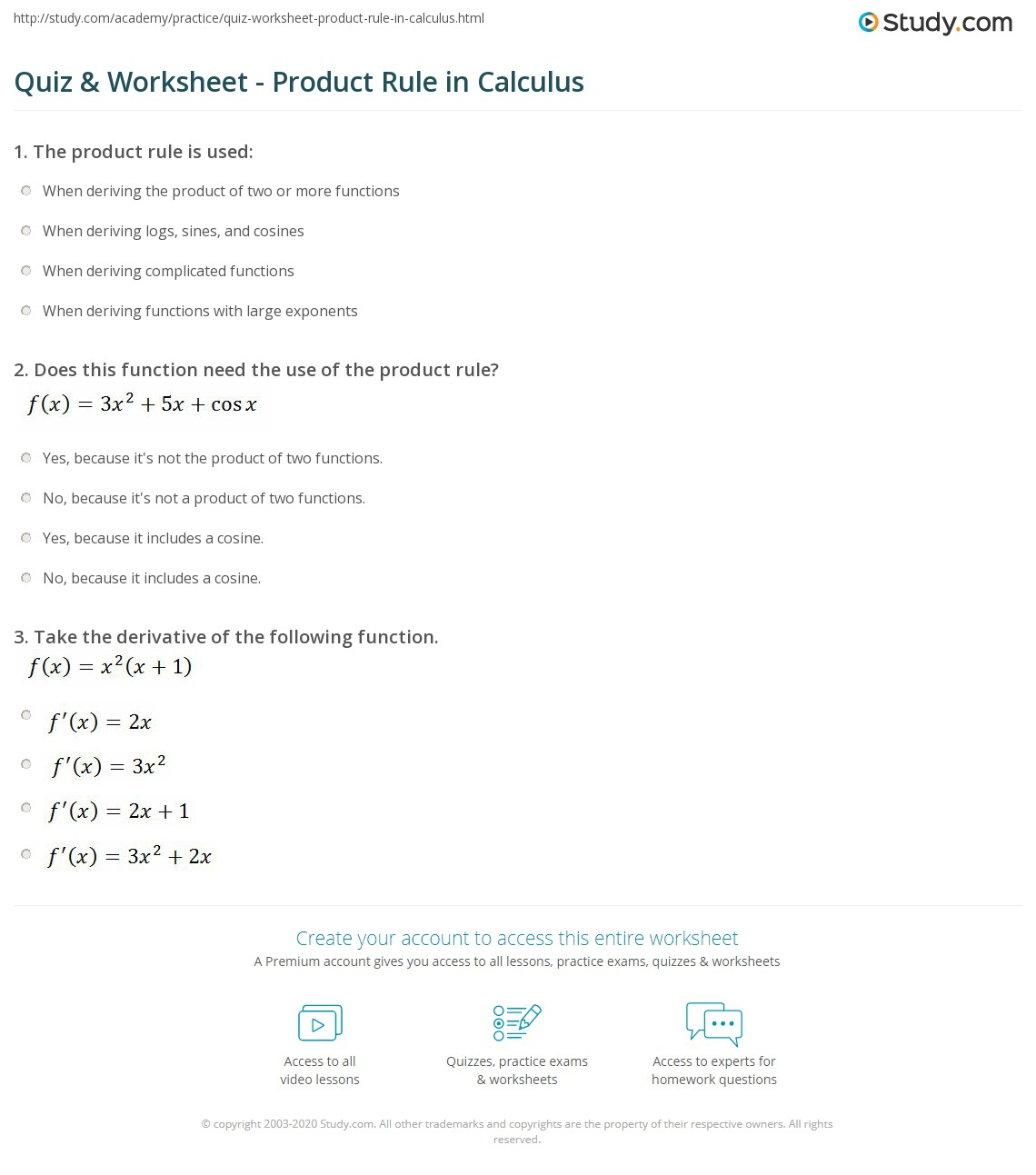 Worksheets Product Rule Worksheet quiz worksheet product rule in calculus study com print formula examples worksheet