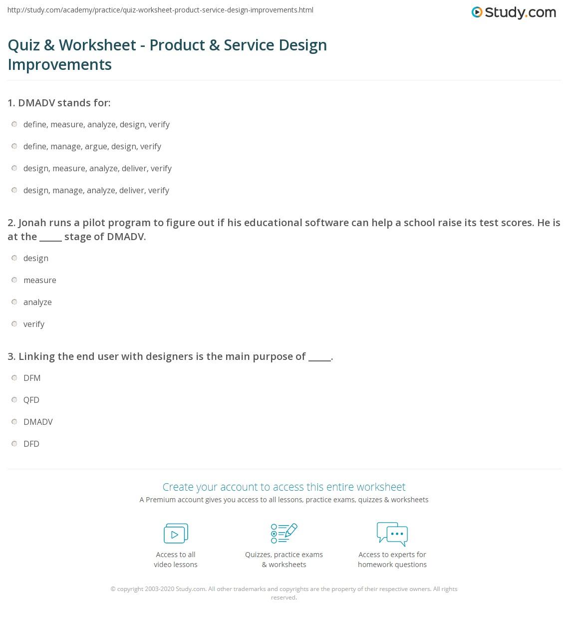 quiz worksheet product service design improvements. Black Bedroom Furniture Sets. Home Design Ideas