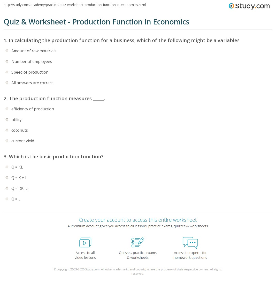 Print Production Function in Economics: Definition, Formula & Example  Worksheet