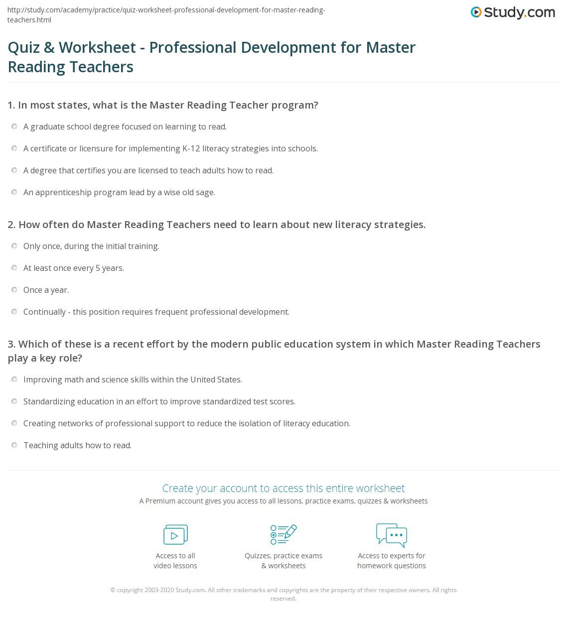 Quiz Worksheet Professional Development For Master Reading