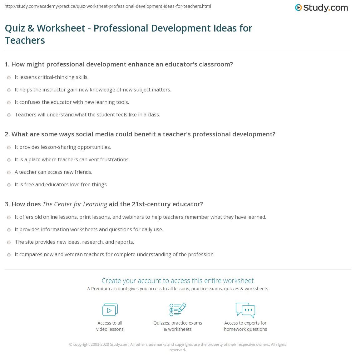 quiz & worksheet - professional development ideas for teachers