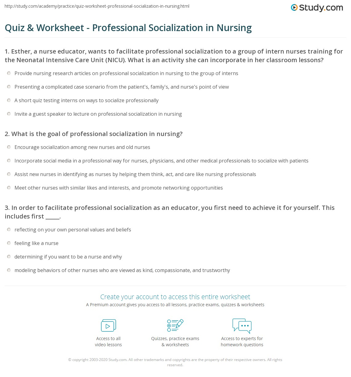 Quiz & Worksheet - Professional Socialization in Nursing