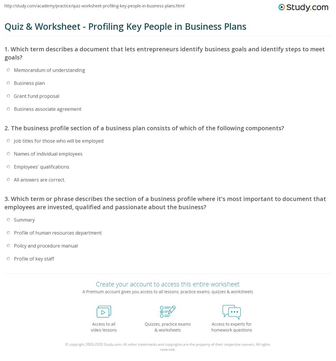 Quiz Worksheet Profiling Key People in Business Plans – Business Plan Worksheet