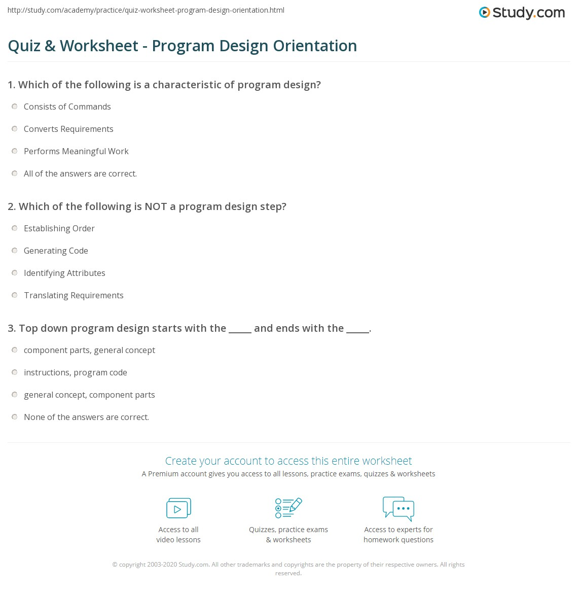 Quiz Worksheet Program Design Orientation Studycom