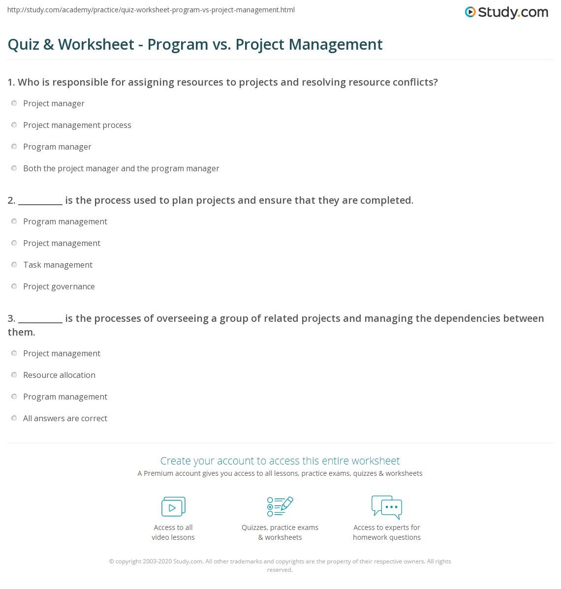 worksheet Project Management Worksheet quiz worksheet program vs project management study com print worksheet