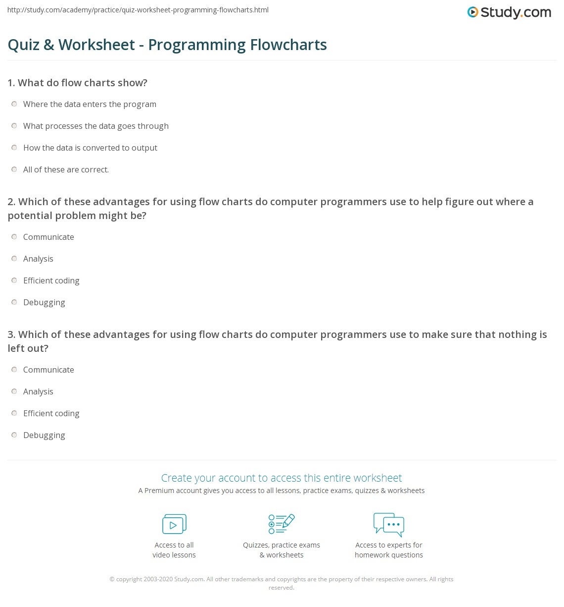 Quiz Worksheet Programming Flowcharts Study