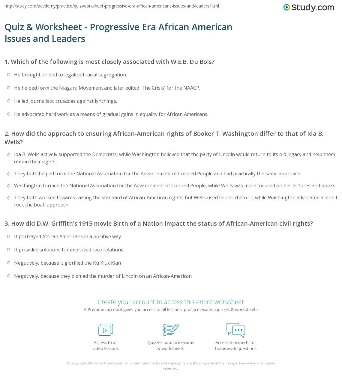Uncategorized Progressive Era Worksheets quiz worksheet progressive era african american issues and print americans in the leaders worksheet