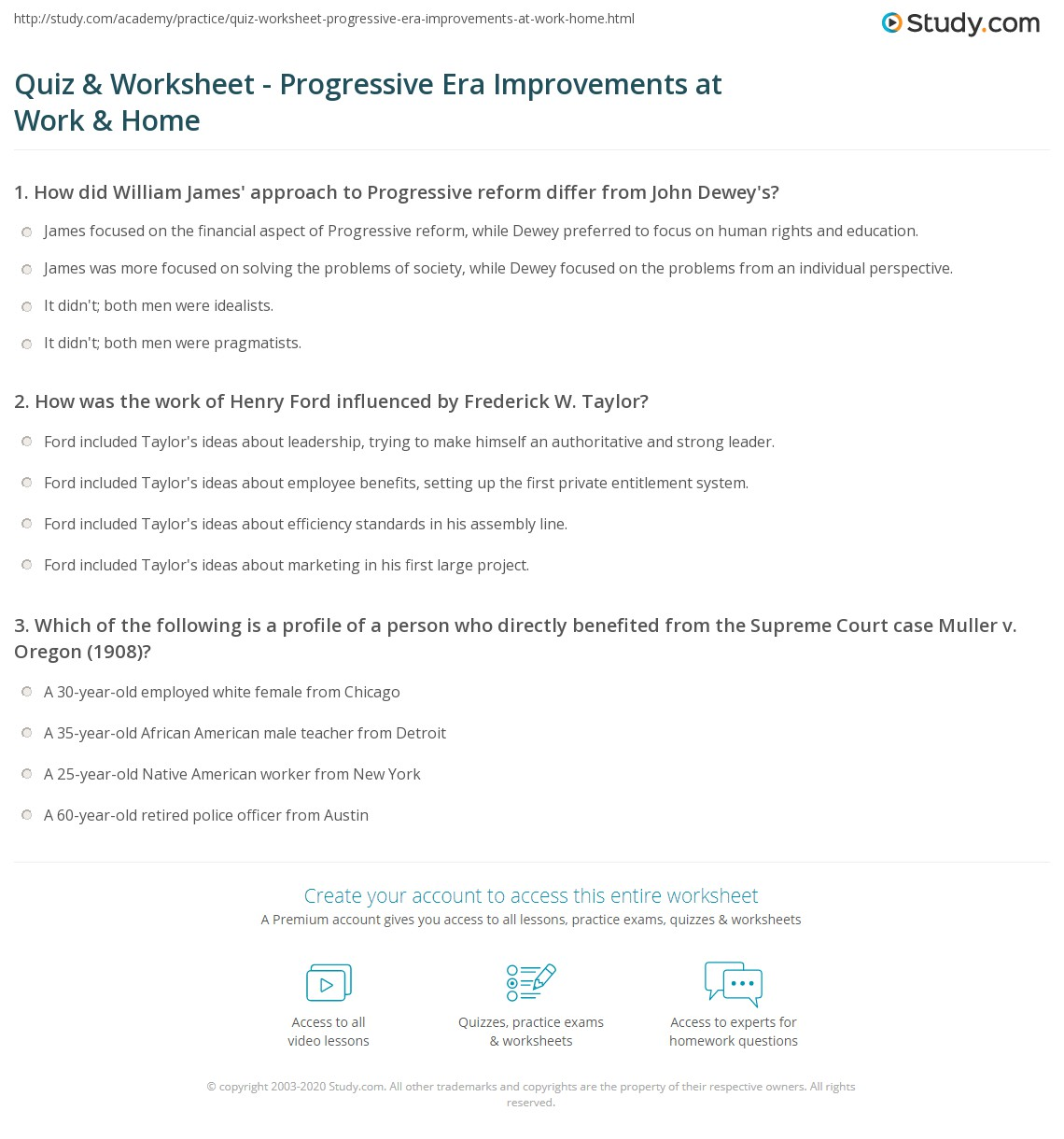 Print Work and Home Improvements of the Progressive Era Worksheet