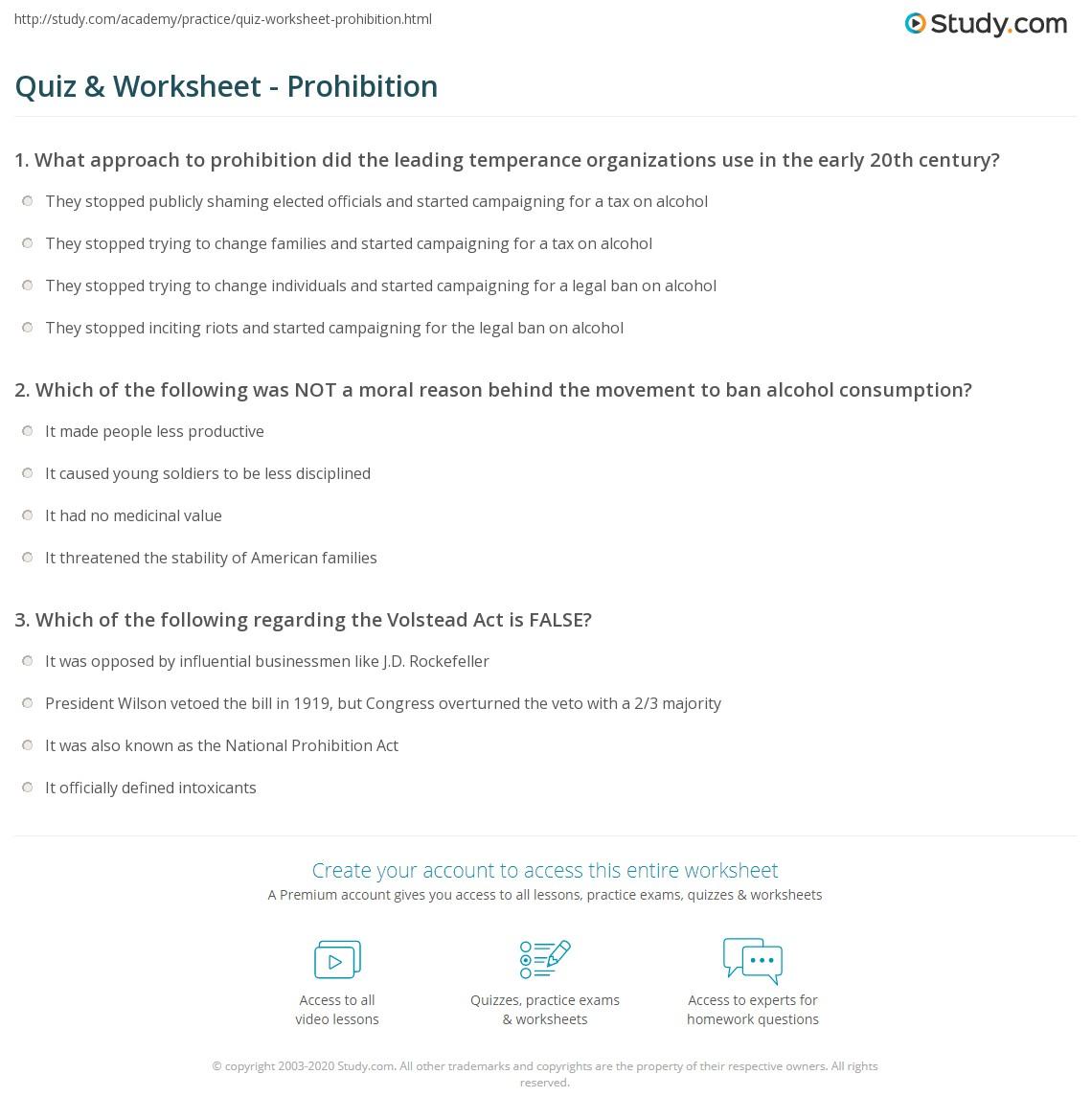Quiz & Worksheet - Prohibition   Study.com