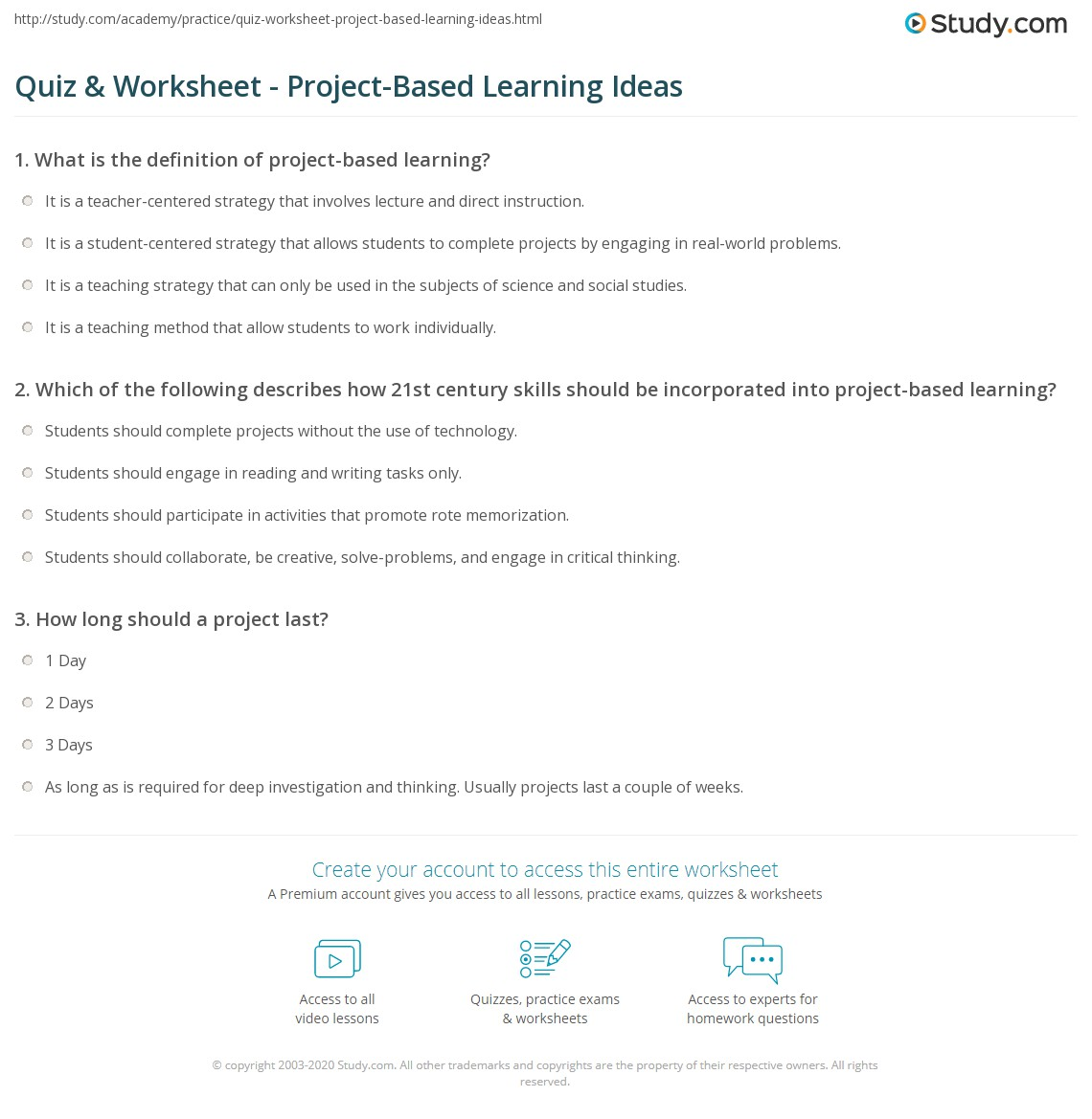 Quiz & Worksheet - Project-Based Learning Ideas | Study.com