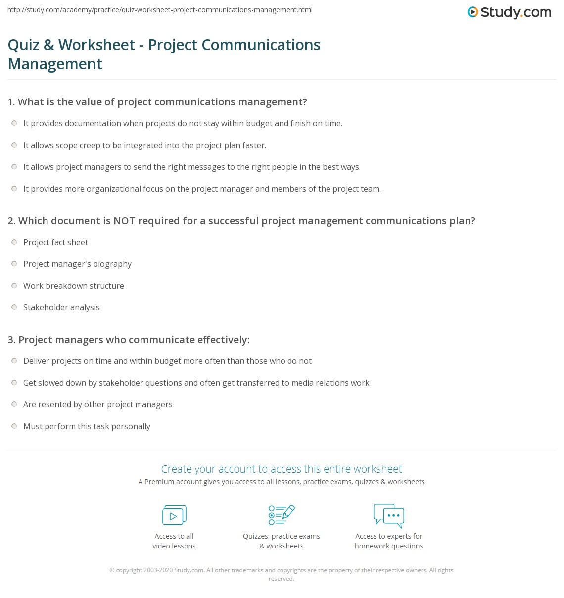 Quiz Worksheet Project Communications Management Study