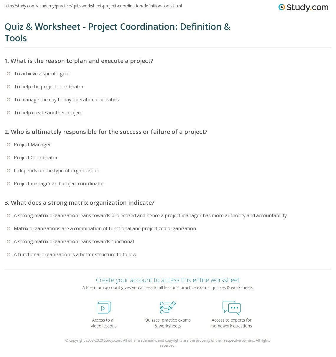 Quiz & Worksheet - Project Coordination: Definition & Tools ...