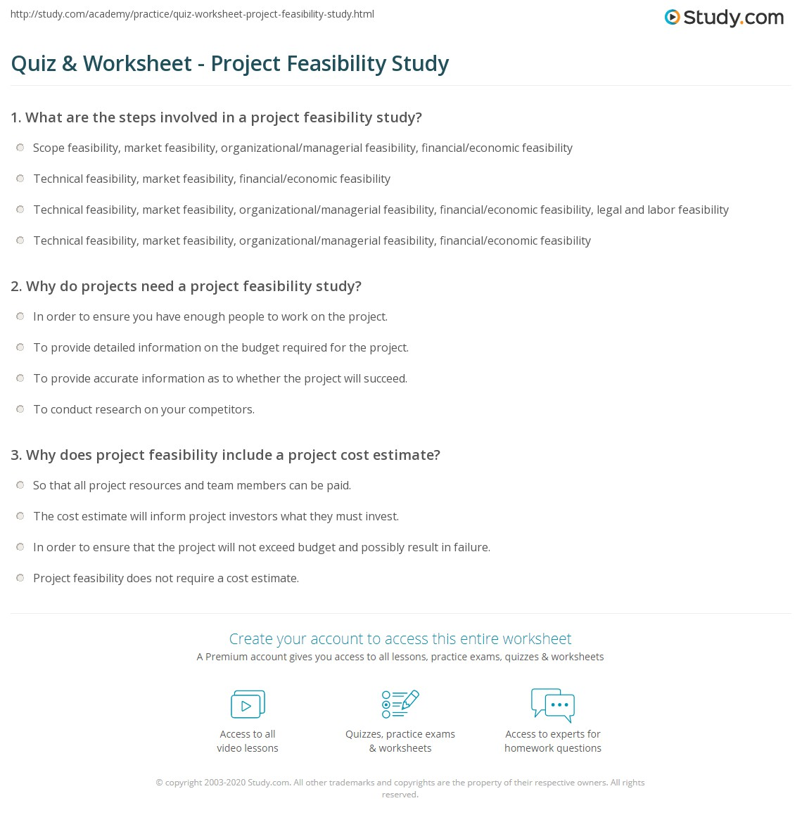 Quiz & Worksheet - Project Feasibility Study | Study.com