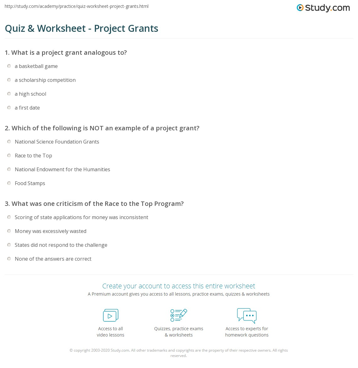 Quiz & Worksheet - Project Grants | Study.com
