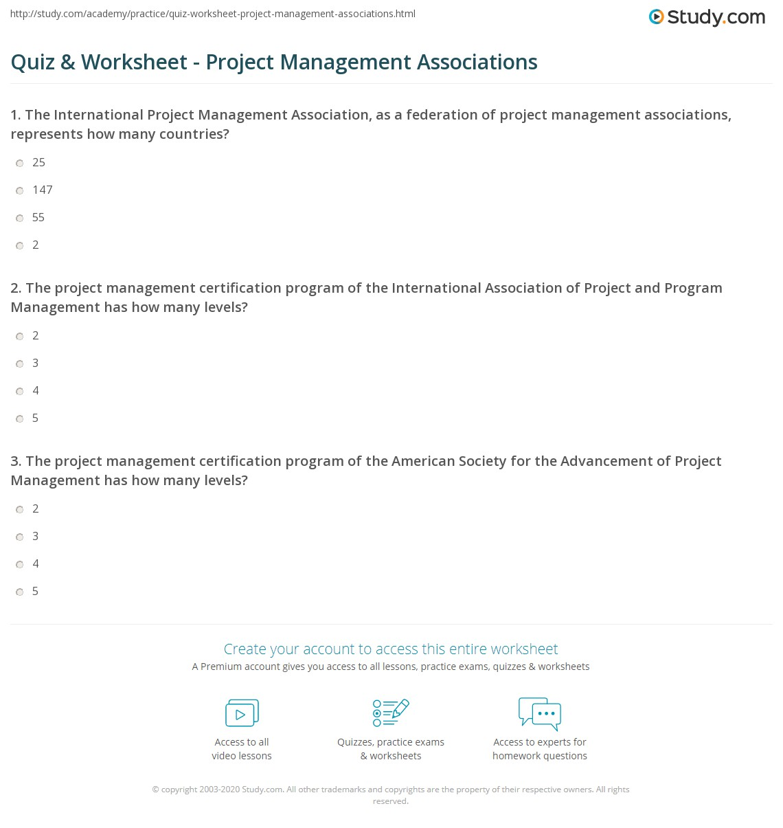 Quiz Worksheet Project Management Associations Study