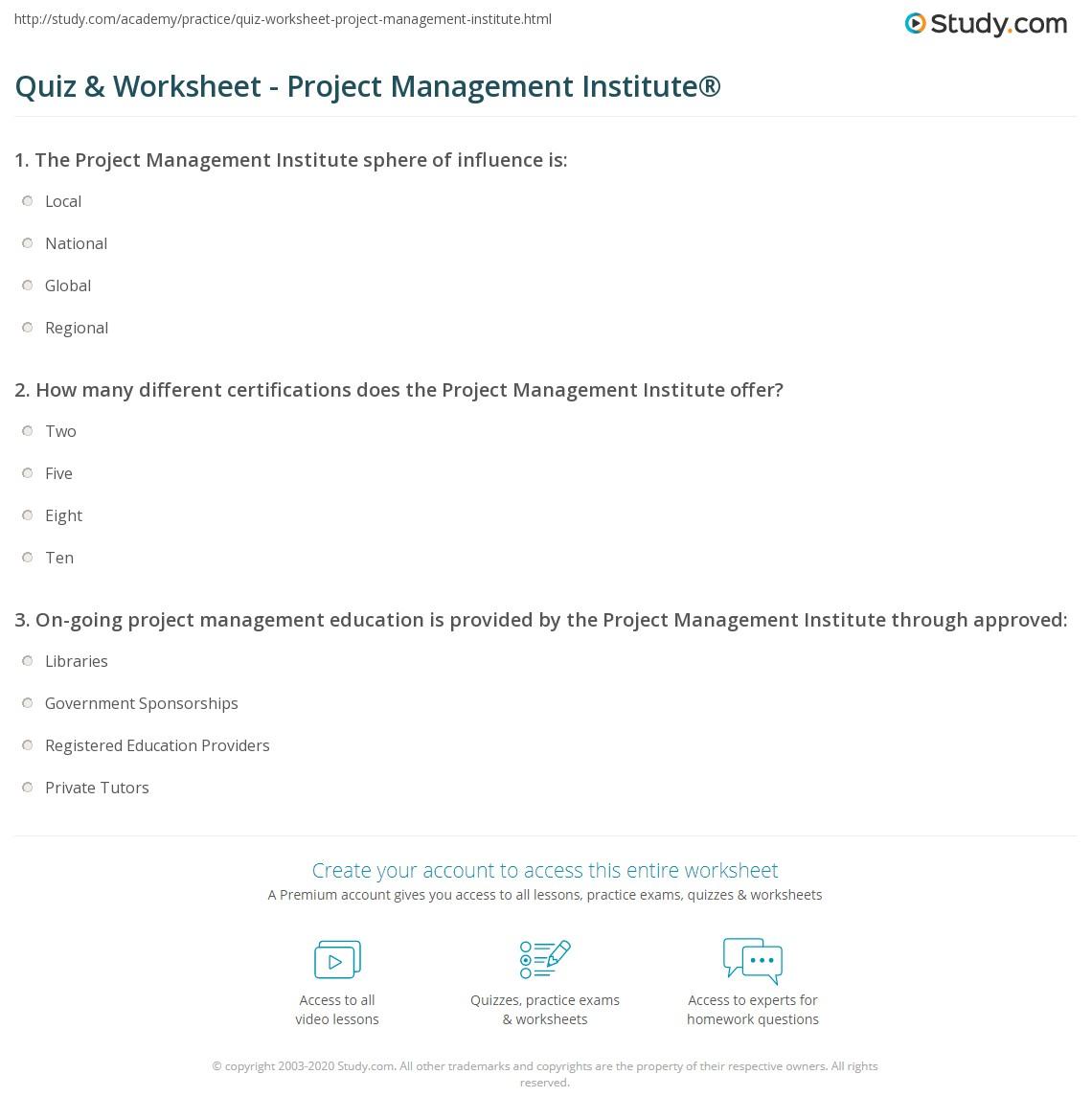 Quiz Worksheet Project Management Institute Study