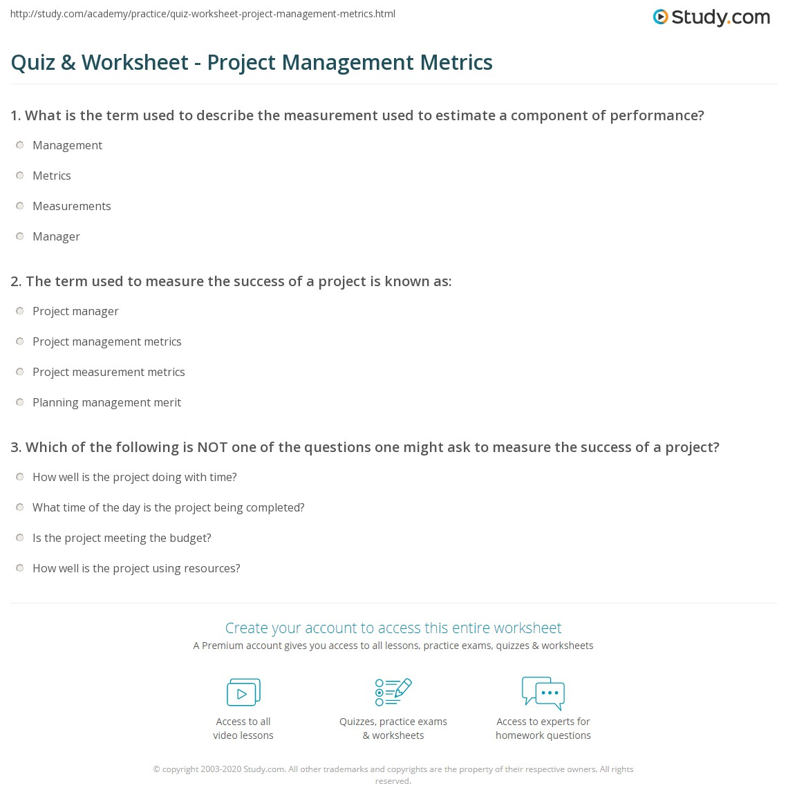 Quiz & Worksheet - Project Management Metrics | Study com