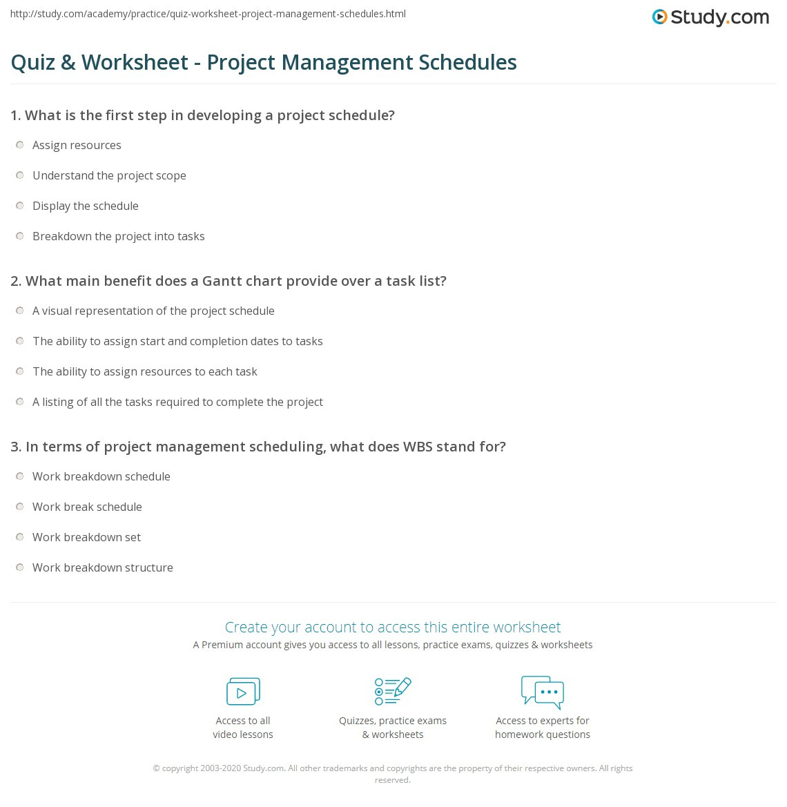Quiz Worksheet Project Management Schedules Study